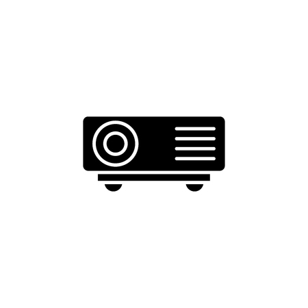 Projector black icon concept. Projector flat  vector symbol, sign, illustration.