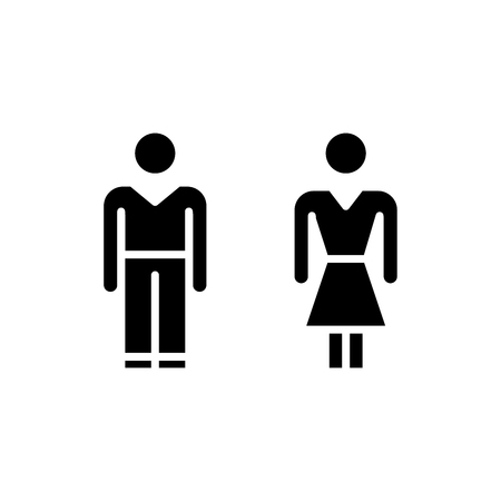 Public toilet black icon concept. Public toilet flat  vector symbol, sign, illustration.