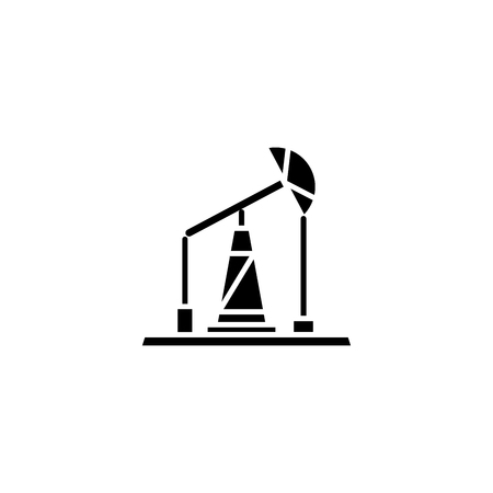 Pumping unit black icon concept. Pumping unit flat  vector symbol, sign, illustration.