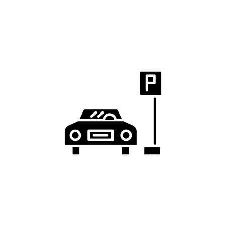 Parking space black icon concept. Parking space flat  vector symbol, sign, illustration.