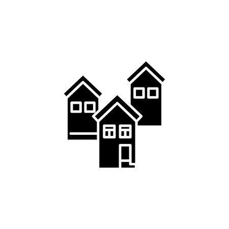 Residential block black icon concept. Residential block flat  vector symbol, sign, illustration.