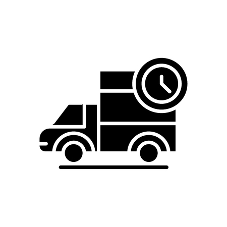 Prompt delivery black icon concept. Prompt delivery flat  vector symbol, sign, illustration.  イラスト・ベクター素材