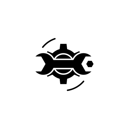Repairs black icon concept. Repairs flat  vector symbol, sign, illustration.  イラスト・ベクター素材