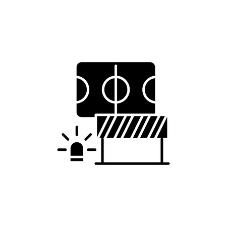 Safety measures black icon concept. Safety measures flat  vector symbol, sign, illustration.