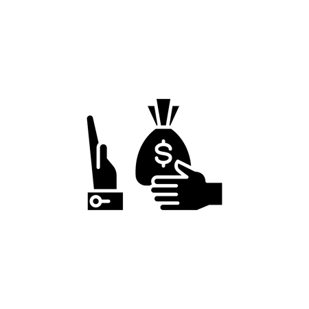 Refusal of a bribe black icon concept. Refusal of a bribe flat vector symbol, sign, illustration.