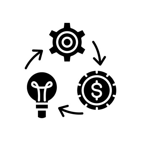 Reinvestment of funds black icon concept. Reinvestment of funds flat  vector symbol, sign, illustration.