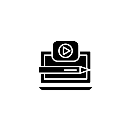 Recording a video black icon concept. Recording a video flat  vector symbol, sign, illustration.