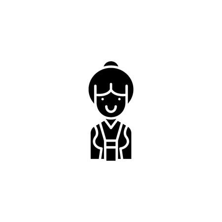 Saleswoman black icon concept. Saleswoman flat  vector symbol, sign, illustration.