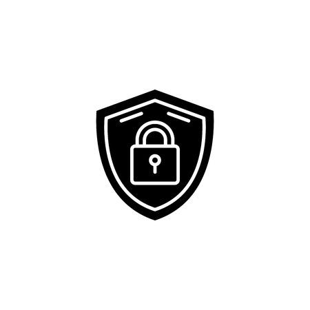 Security measures black icon concept. Security measures flat  vector symbol, sign, illustration. Ilustrace