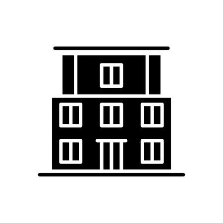 Concept d'icône noire de bâtiment scolaire. Symbole de vecteur plat de bâtiment d'école, signe, illustration.