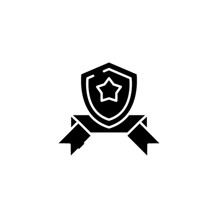 Shield band black icon concept. Shield band flat vector symbol, sign, illustration.