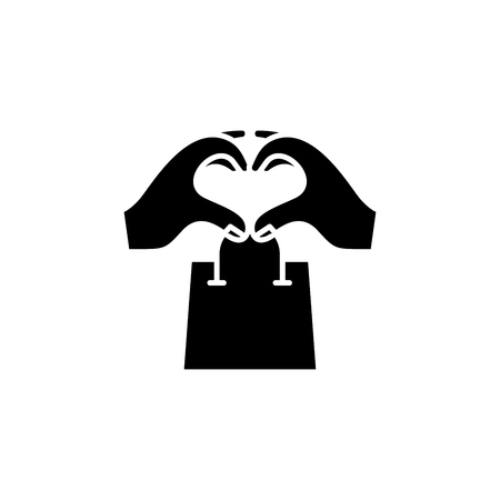 Shopping addiction black icon concept. Shopping addiction flat  vector symbol, sign, illustration. Illustration
