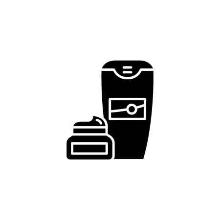 Shaving cream black icon concept. Shaving cream flat  vector symbol, sign, illustration. Illustration