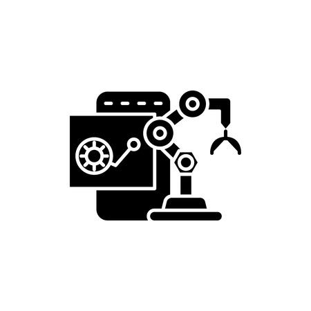 Robot charactersitics black icon concept. Robot charactersitics flat vector symbol, sign, illustration.