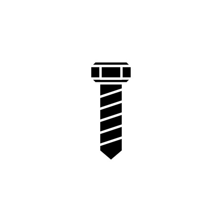 Screw-bolt black icon concept. Screw-bolt flat  vector symbol, sign, illustration. 向量圖像
