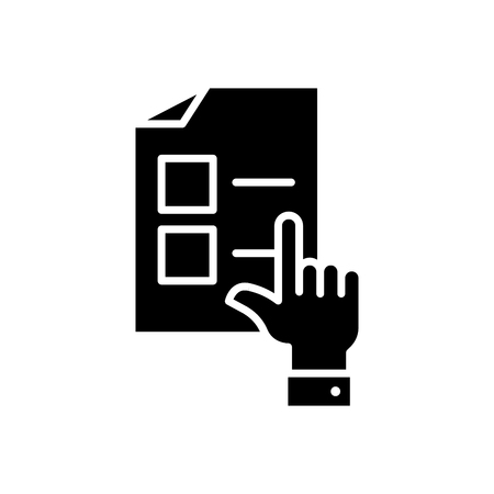 Selecting an option black icon concept. Selecting an option flat  vector symbol, sign, illustration.