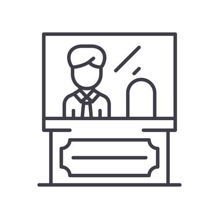 Administrative personnel black icon concept. Administrative personnel flat  vector symbol, sign, illustration.