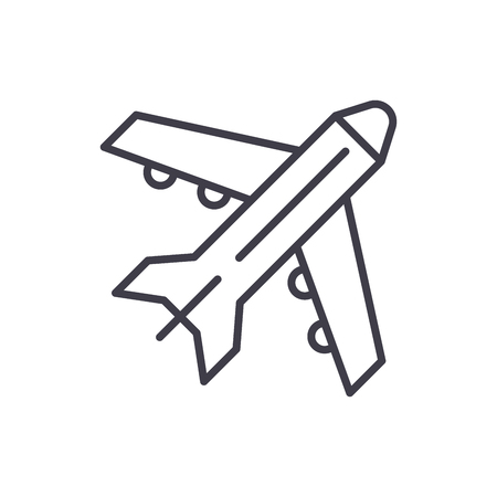 Air freight black icon concept. Air freight flat  vector symbol, sign, illustration.