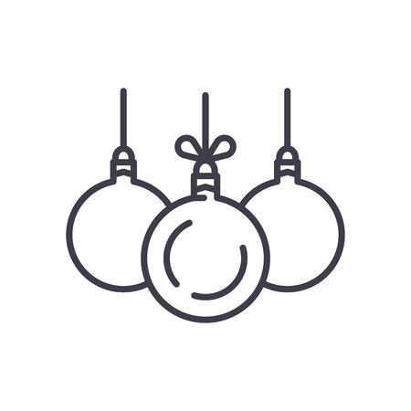 Christmas balls black icon concept. Christmas balls flat  vector symbol, sign, illustration.