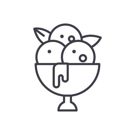 Balls of ice cream black icon concept. Balls of ice cream flat  vector symbol, sign, illustration. Vectores