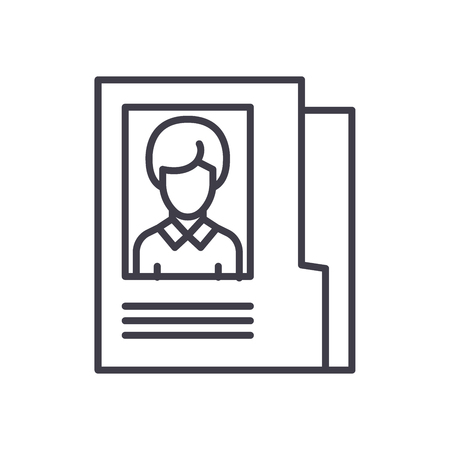 Employee personal file black icon concept. Employee personal file flat  vector symbol, sign, illustration.