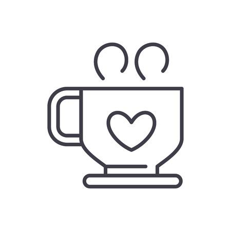 Hot coffee black icon concept. Hot coffee flat  vector symbol, sign, illustration. Illustration