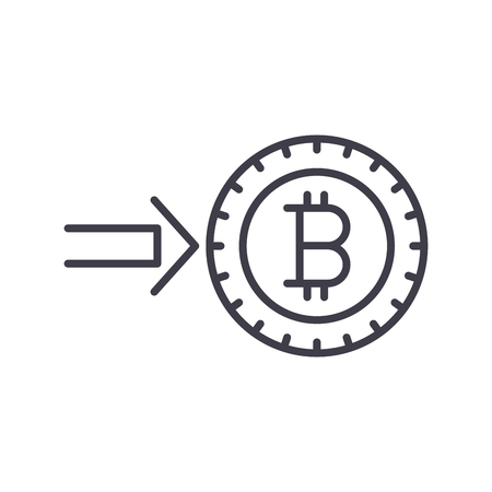 Investment into bitcoin black icon concept. Investment into bitcoin flat  vector symbol, sign, illustration.