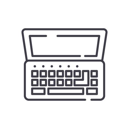 Netbook black icon concept. Netbook flat  vector symbol, sign, illustration.