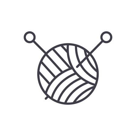 Knitting black icon concept. Knitting flat  vector symbol, sign, illustration. Vettoriali
