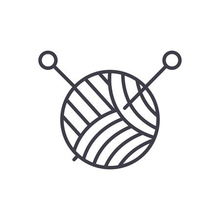 Knitting black icon concept. Knitting flat  vector symbol, sign, illustration. Illustration