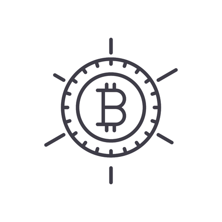 Popularity of bitcoin black icon concept. Popularity of bitcoin flat  vector symbol, sign, illustration.
