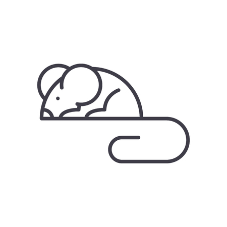 Mouse rodents black icon concept. Mouse rodents flat vector symbol, sign, illustration.
