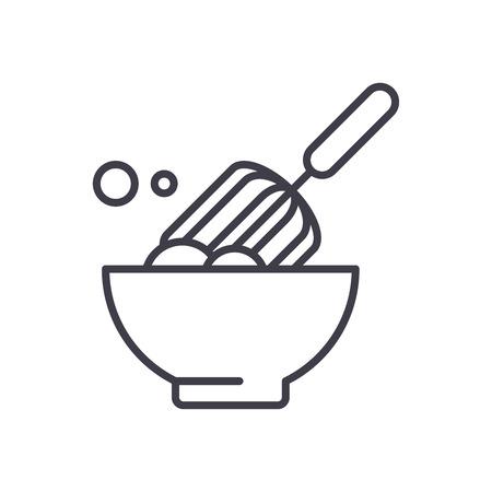 Dough making black icon concept. Dough making flat  vector symbol, sign, illustration. Stock Illustratie