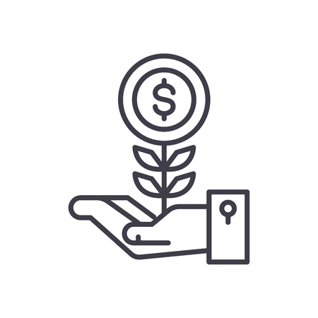 Initial revenue black icon concept. Initial revenue flat  vector symbol, sign, illustration.