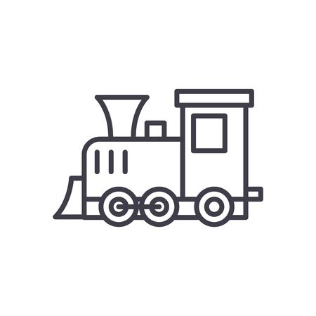Playing locomotive black icon concept. Playing locomotive flat  vector symbol, sign, illustration. Stock Illustratie