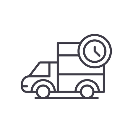 Prompt delivery black icon concept. Prompt delivery flat vector symbol, sign, illustration.