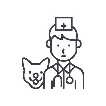 Treatment of animals black icon concept. Treatment of animals flat  vector symbol, sign, illustration. Illustration