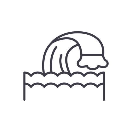 Water body black icon concept. Water body flat  vector symbol, sign, illustration.
