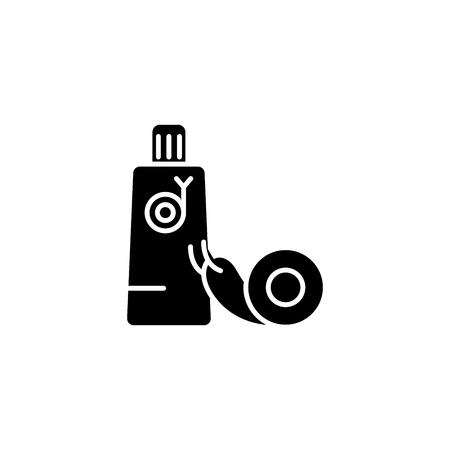 Snail cream black icon concept. Snail cream flat  vector symbol, sign, illustration.