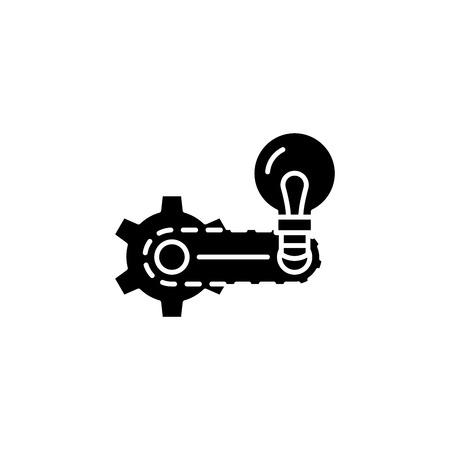 Strategy elaboration black icon concept. Strategy elaboration flat vector symbol, sign, illustration.