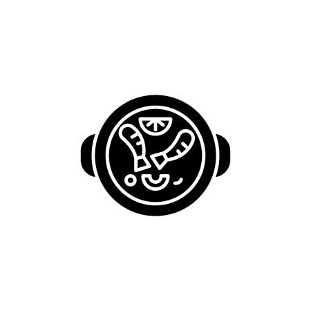Spanish food black icon concept. Spanish food flat  vector symbol, sign, illustration.