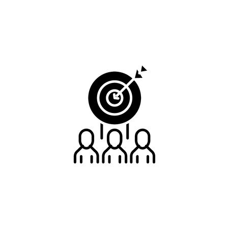 Target market audience black icon concept. Target market audience flat  vector symbol, sign, illustration. Illustration