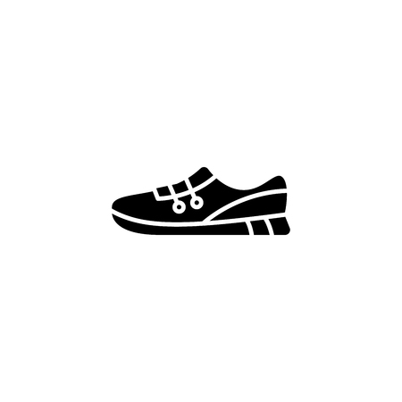 Sports shoes black icon concept. Sports shoes flat  vector symbol, sign, illustration.