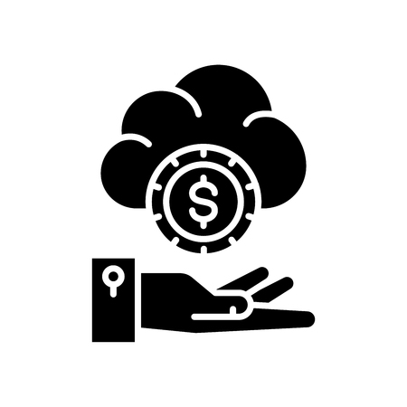 Stable income black icon concept. Stable income flat  vector symbol, sign, illustration. Ilustracja