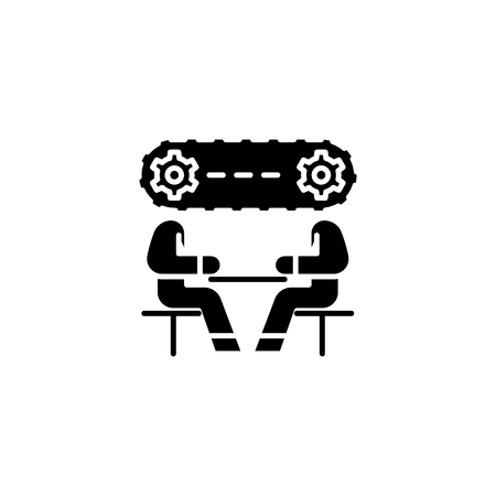 Strategy discussion black icon concept. Strategy discussion flat  vector symbol, sign, illustration.