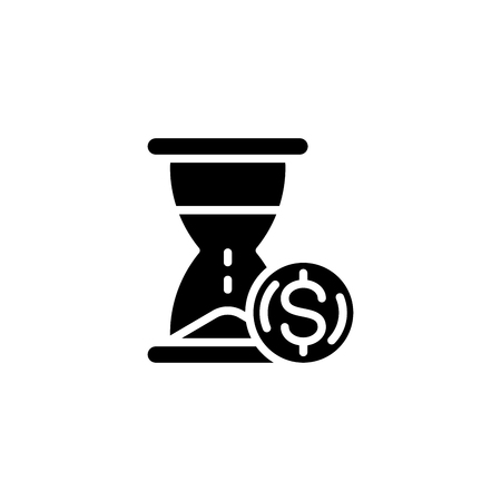 Time is money black icon concept. Time is money flat  vector symbol, sign, illustration. Ilustracja