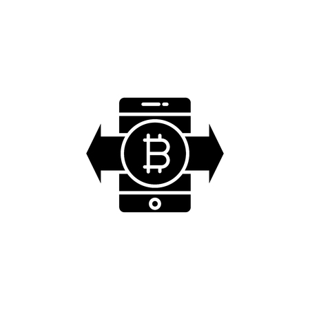 Transfer of bitcoins black icon concept. Transfer of bitcoins flat  vector symbol, sign, illustration.