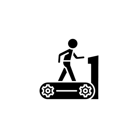 Treadmill black icon concept. Treadmill flat  vector symbol, sign, illustration.