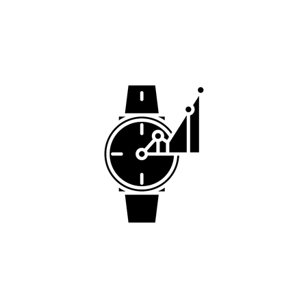 Time-keeper black icon concept. Time-keeper flat  vector symbol, sign, illustration.