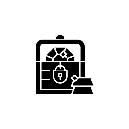 Treasure chest black icon concept. Treasure chest flat  vector symbol, sign, illustration. Illustration